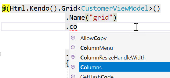 Kendo UI Grid Tag Helper IntelliSense