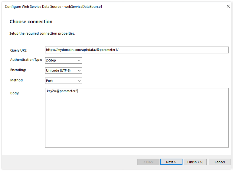 A dialog window displaying the Configure Web Service Data Source