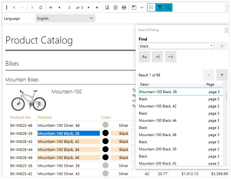 A screenshot of the Product Catalog report with a search dialog displayed