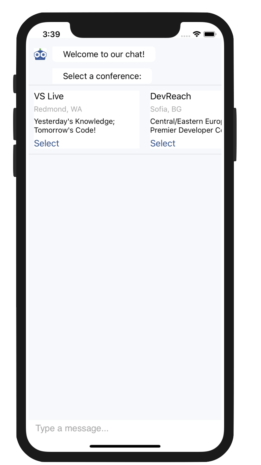 CardPicker control displaying conferences in Telerik UI for Xamarin
