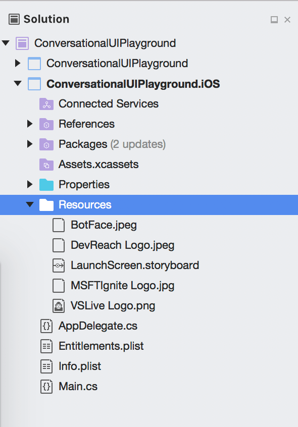 Image resources folder expanded in the Solution Explorer for Visual Studio for Mac