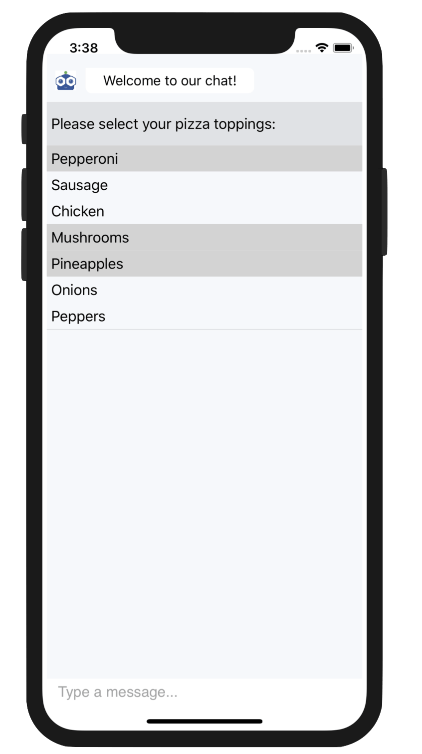 Multiple pizza toppings selected in the ItemPicker control in Telerik UI for Xamarin
