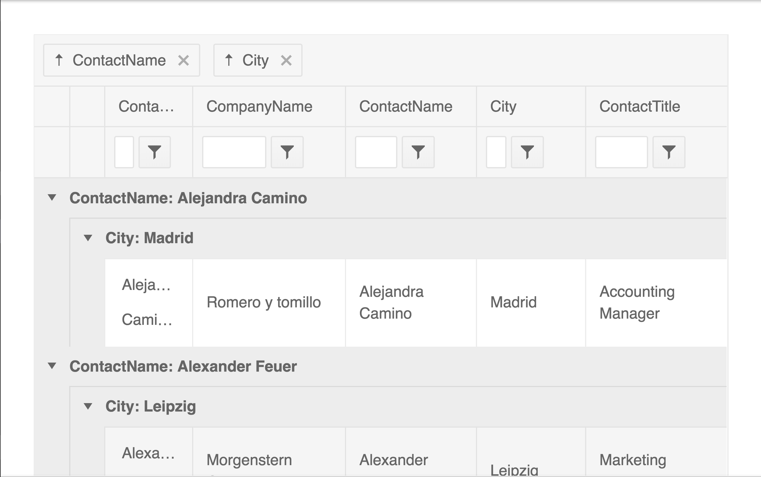 screenshot showing how you can group by multiple columns on the kendo ui grid