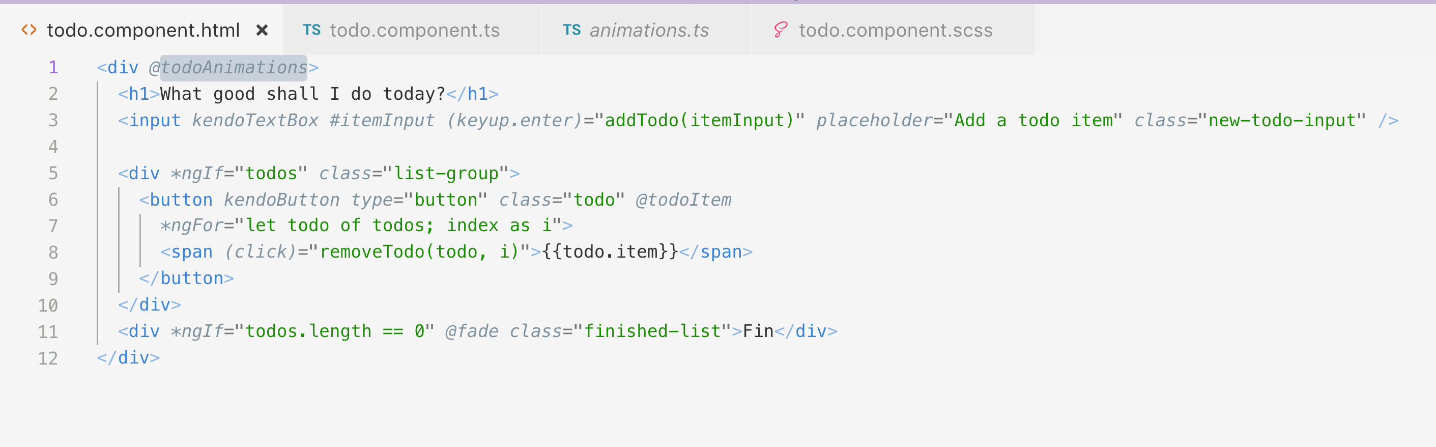 screenshot showing html div wrapper around todo markup
