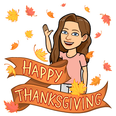 bitmoji of me waving in falling leaves saying 'happy thanksgiving'