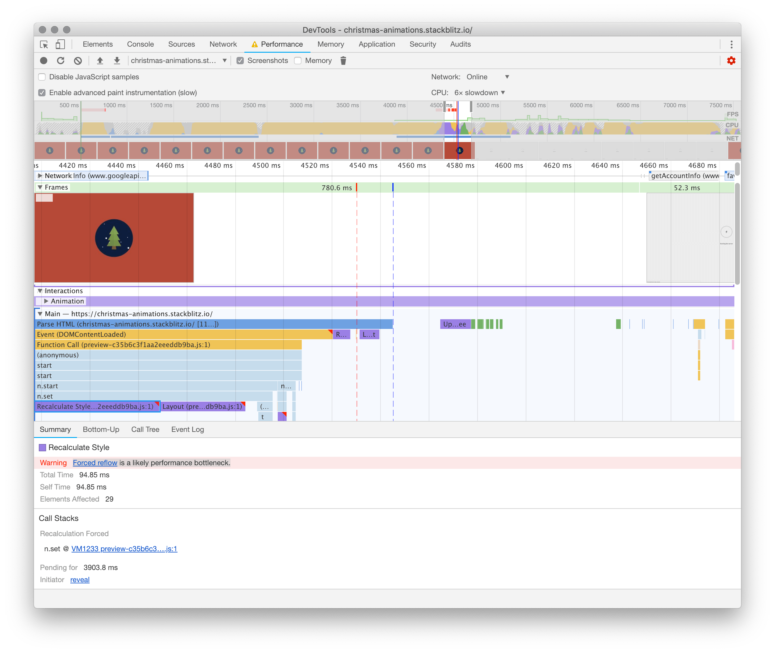 screenshot showing our non-optimal animations in the chrome devtools performance panel