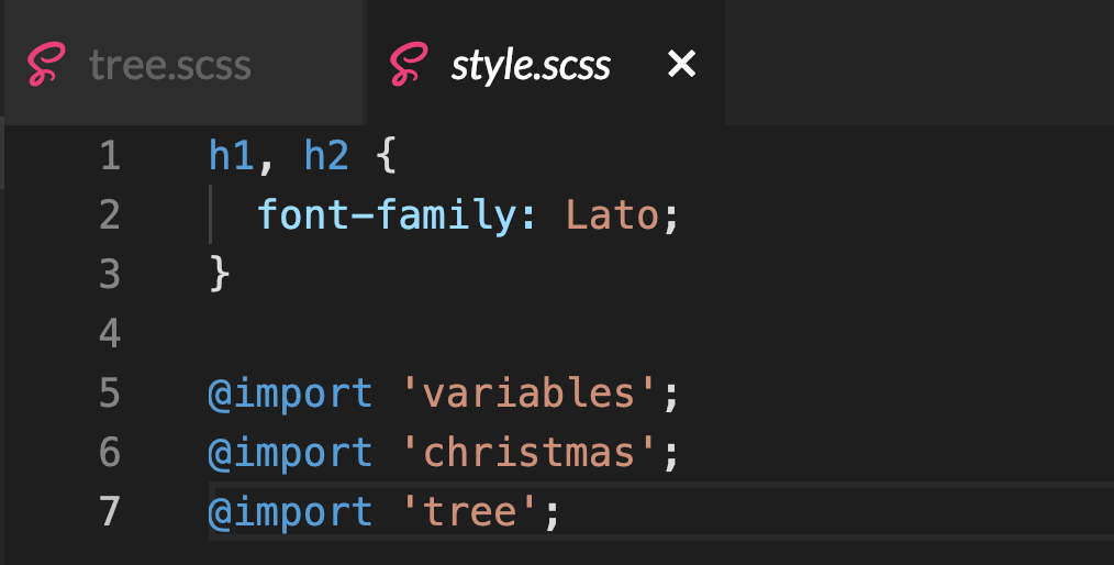 screenshot of our styles.scss file