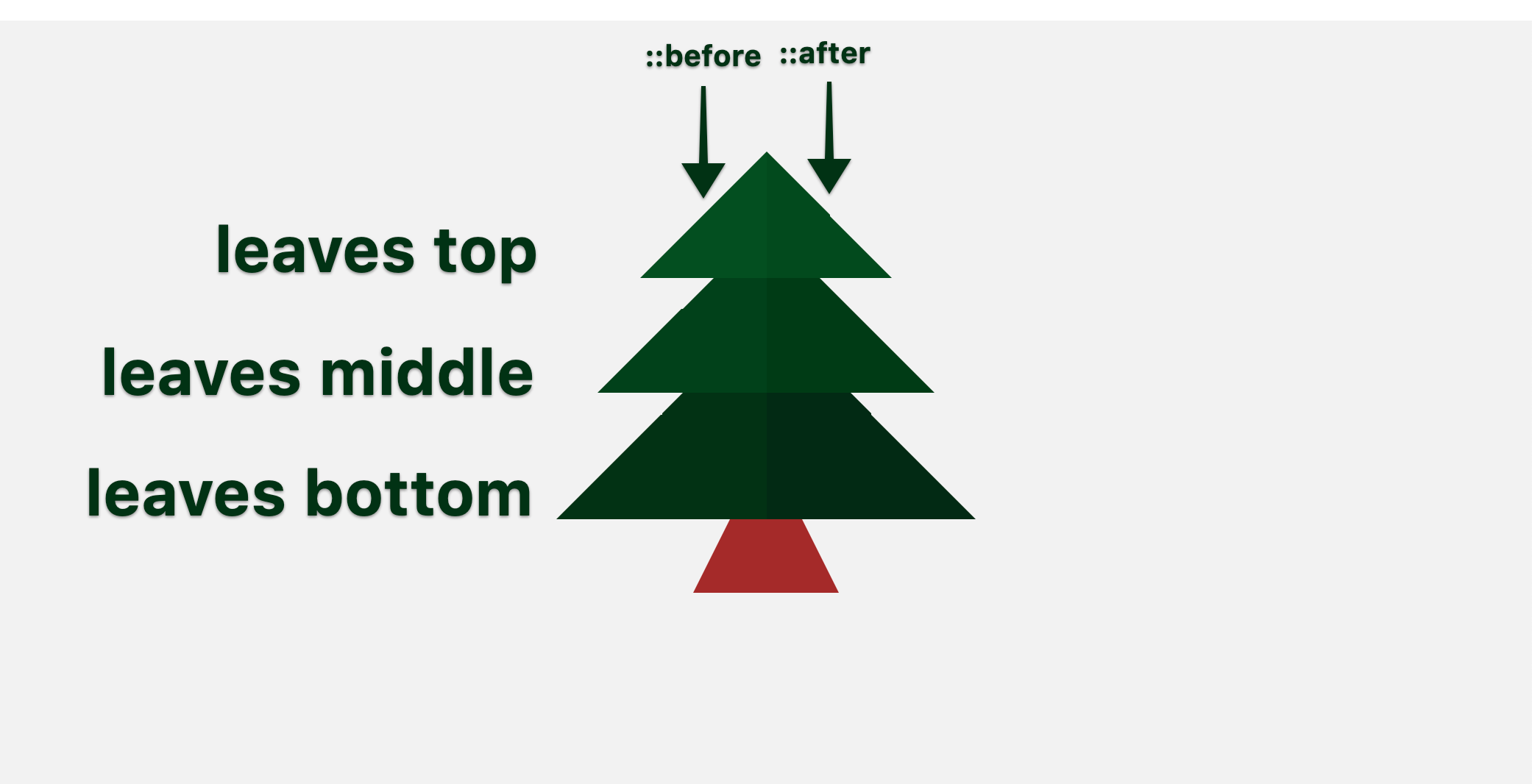 screenshot of our tree pointing out top, middle, and bottom segments