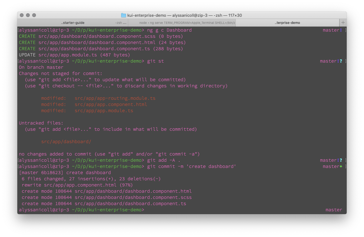 screenshot of our terminal as we add everything to git repo
