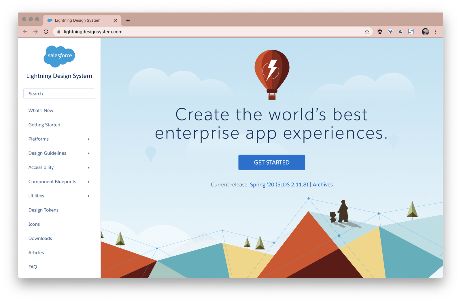 a screenshot of the opening page of salesforce design system