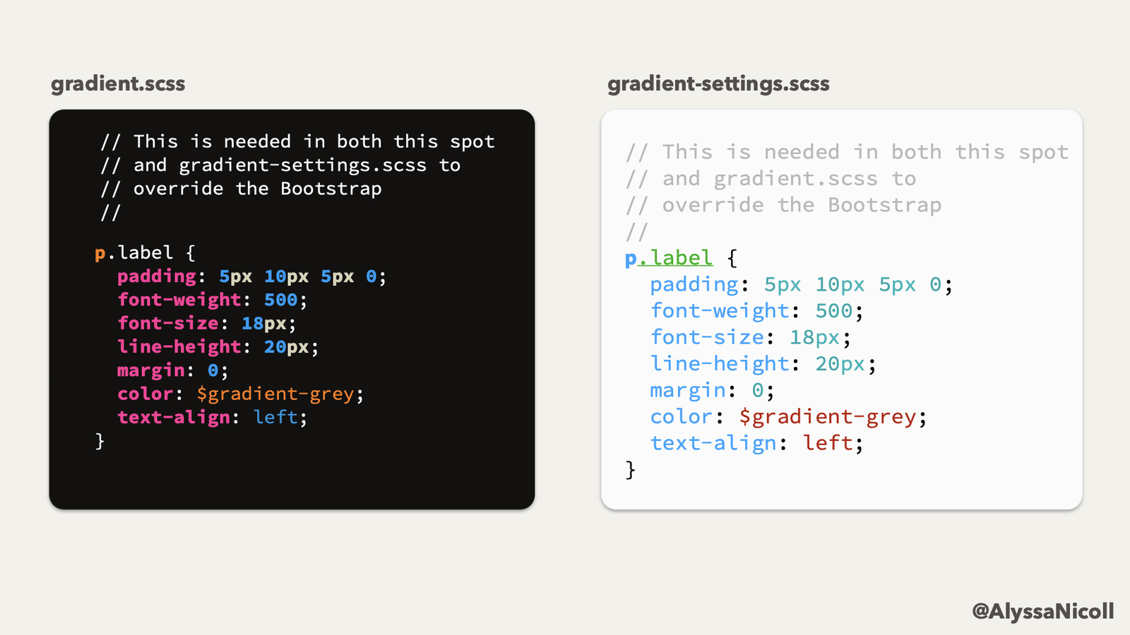 commented duplicate CSS in two different files, explaining it is needed to override Bootstraps specificity