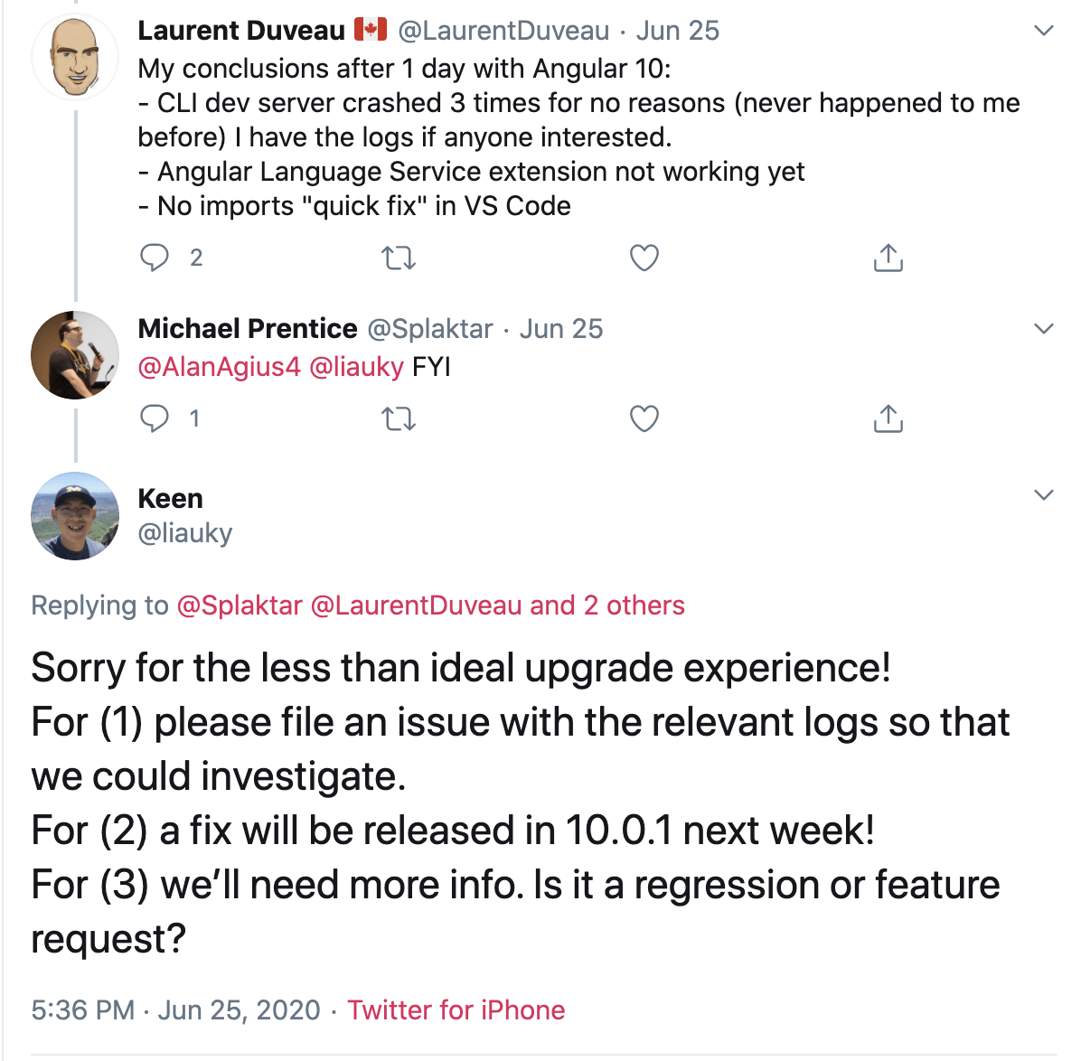 a tweet about submitting feedback