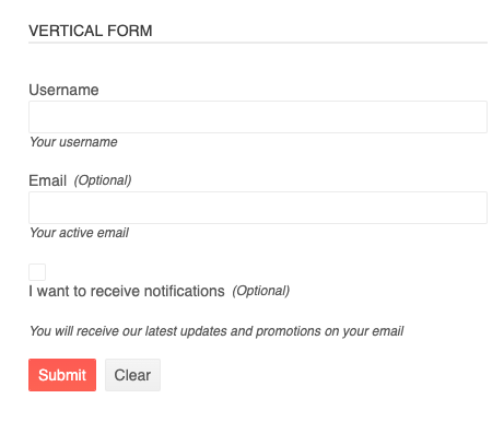 vertical form screenshot with labels above input fields