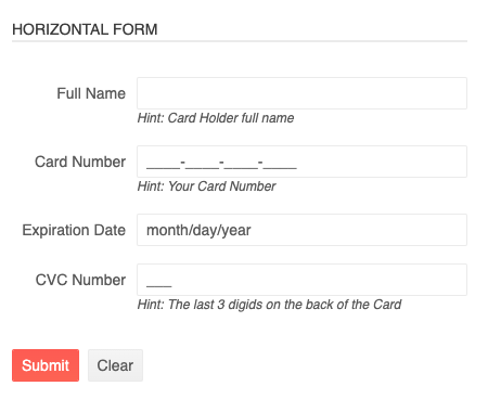 horizontal form with labels side-by-side input fields