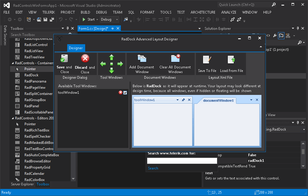 Telerik s winforms are now visual studio 2012 rtm ready pla for Telerik window