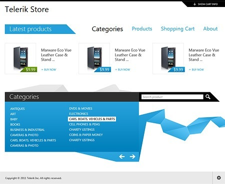 Telerik Store home page