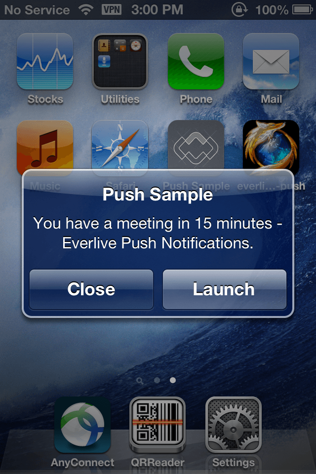 Sample Notification for Everlive Push Notifications