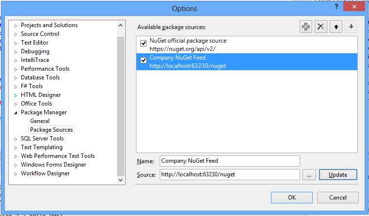 Add Package Source Dialog