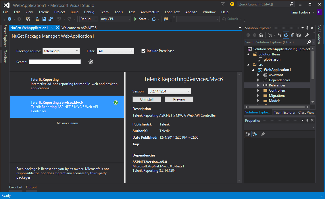Adding Reference to Telerik Reporting REST Service for MVC6