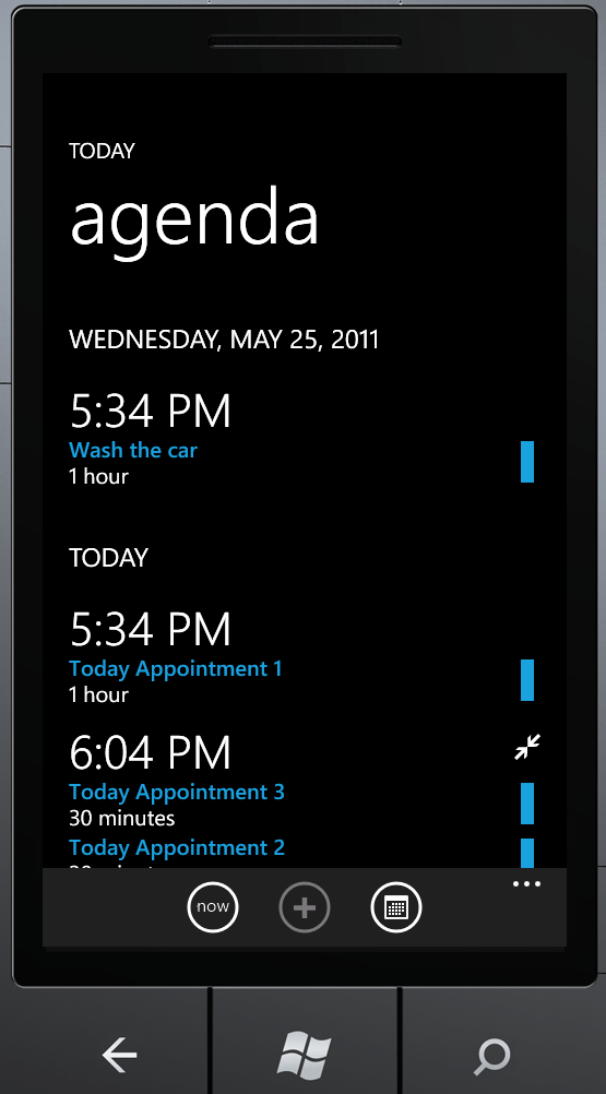 AgendaView for WindowsPhone