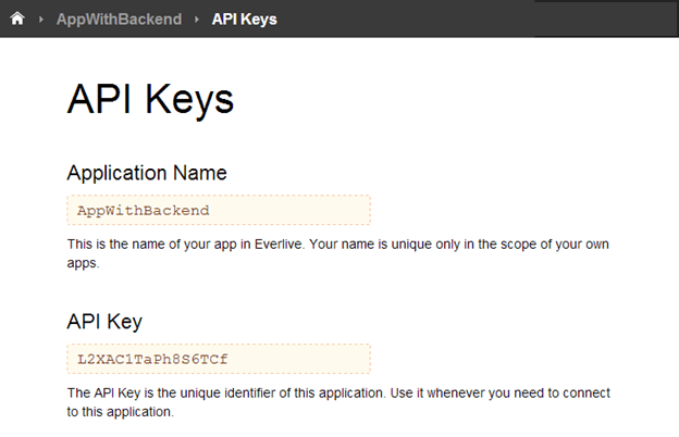 API Keys in Everlive Portal
