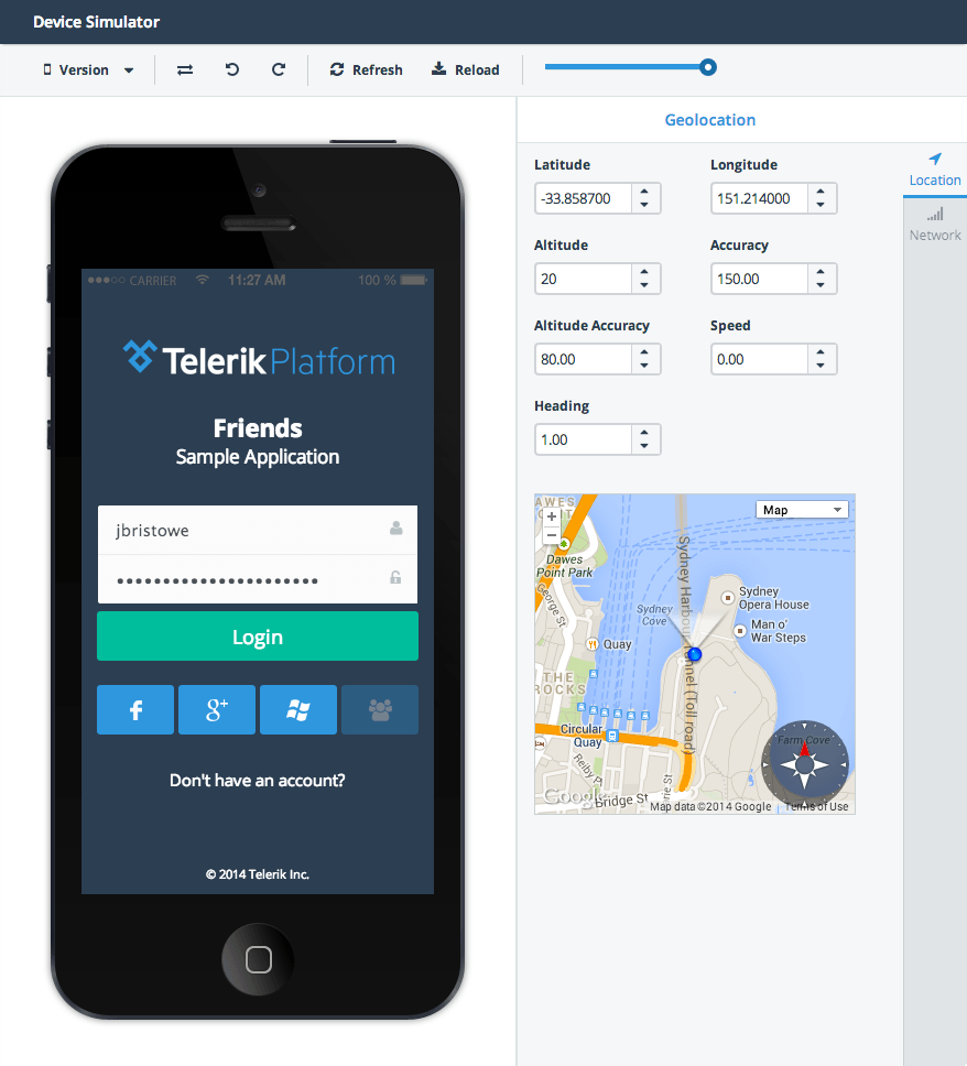 Telerik AppBuilder: Device Simulator