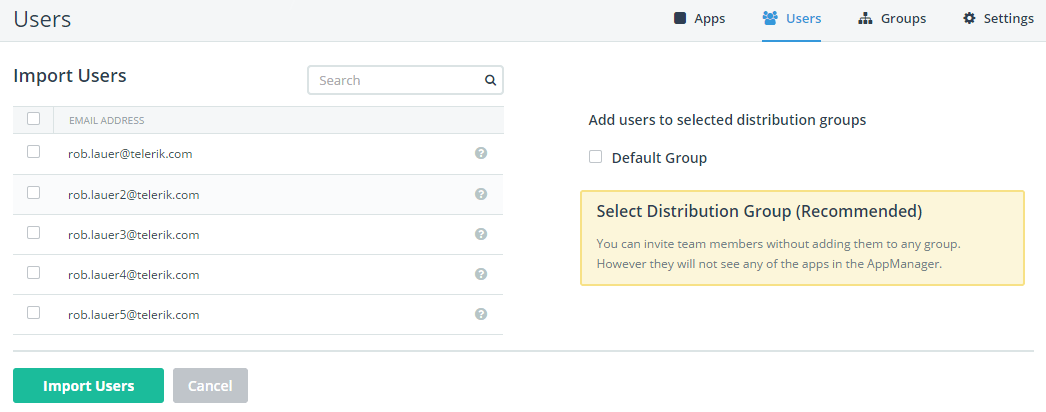 appmanager import users assign to groups