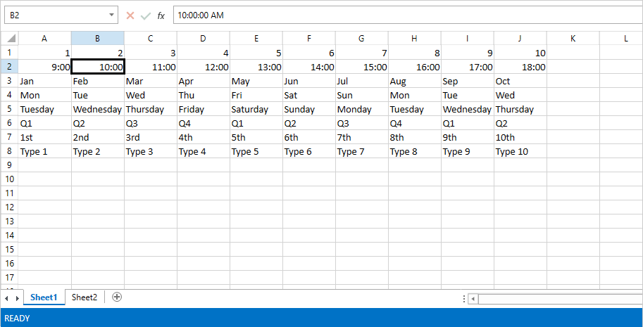 Automatic Fill of values in RadSpreadsheet