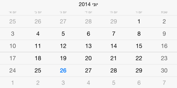 UI for iOS Calendar Localization by Telerik