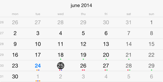 UI for iOS Calendar Events by Telerik