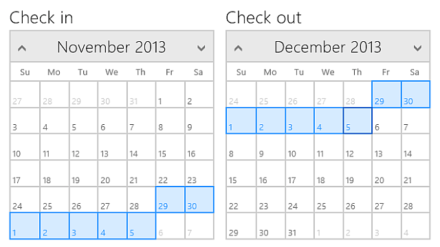Calendar for Windows 8 HTML