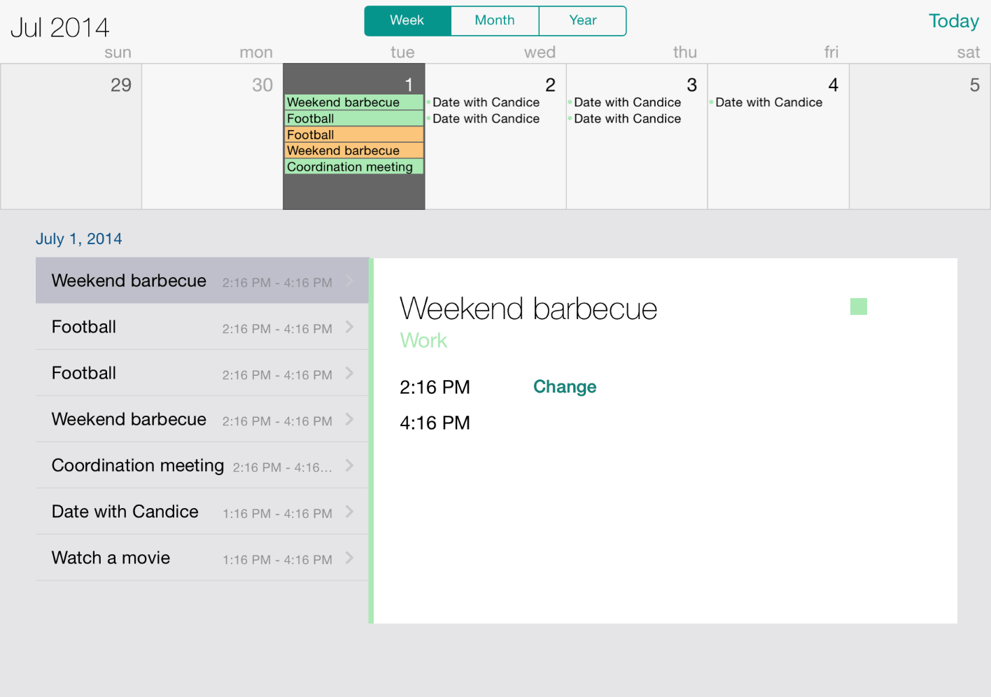 UI for iOS Calendar Week View by Telerik