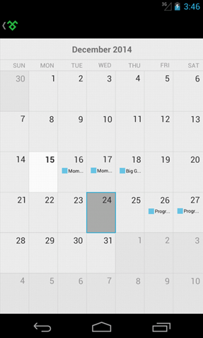 Calendar for Xamarin.Forms Android by Telerik