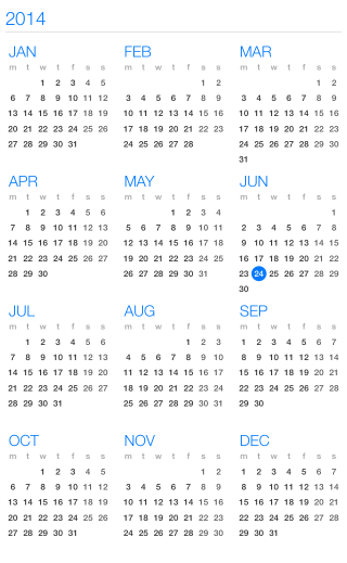 UI for iOS Calendar Year View by Telerik