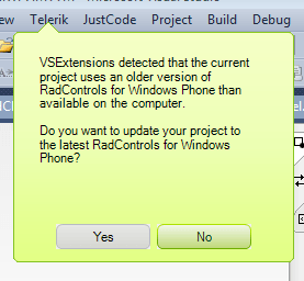 RadControls VSExtensions upgrade message