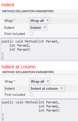 Indentation options image