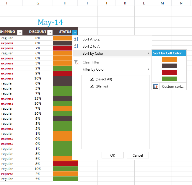 RadSpreadsheet Sorting by Color