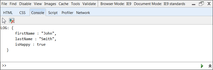 IE Developer Tools Console
