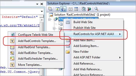 RadControls for ASP.NET AJAX VS Extensions\