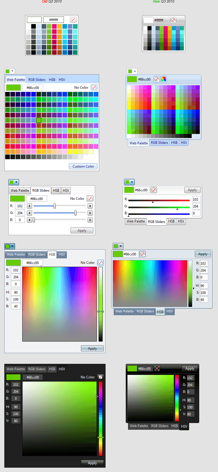 ColorPicker skin comparison