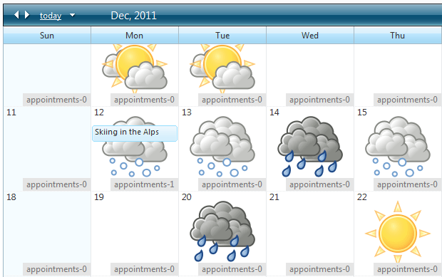 Weather forecast in month view