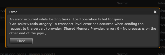 Data load error dialog