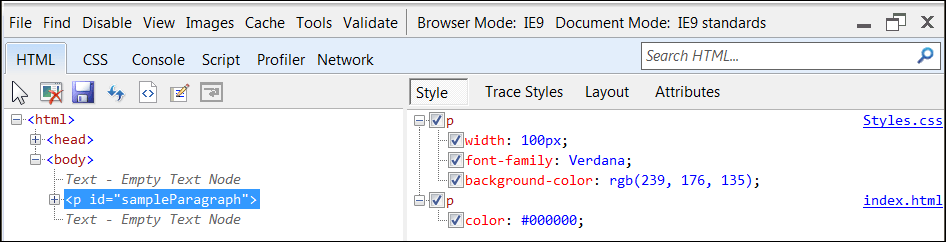 IE9 Dev Tools - Element Inspection