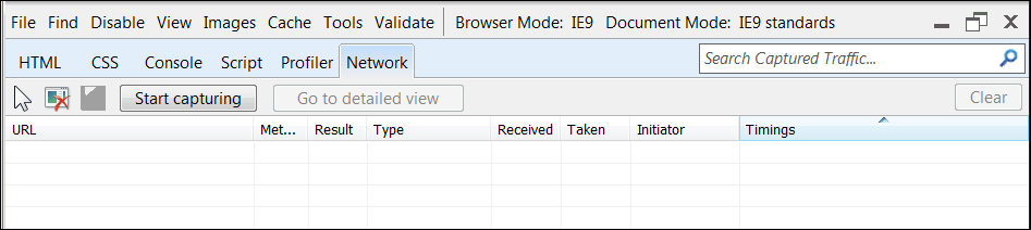 IE9 Network Tab