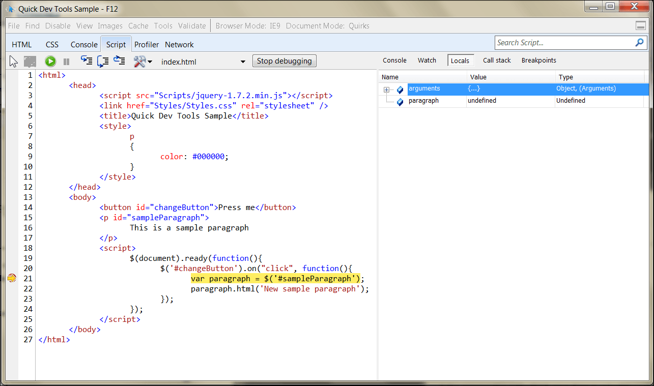 IE9 hitting breakpoint