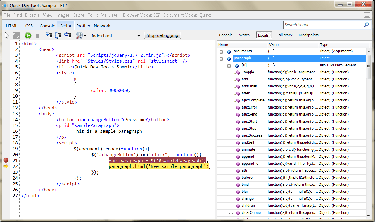 IE9 Dev Tools inspecting variable