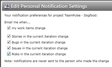 Edit personal email notification settings in TeamPulse