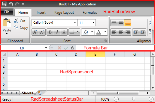 Excel like features in RadRibbonView