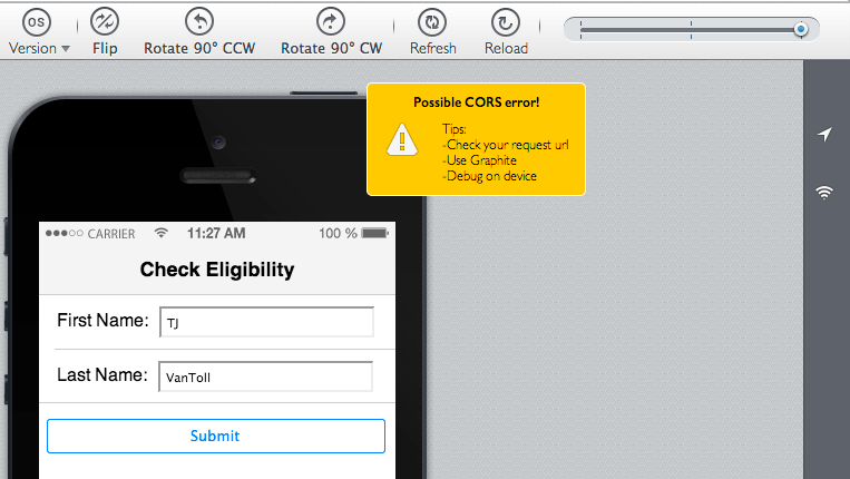 Display of our eligibility form on an iPhone