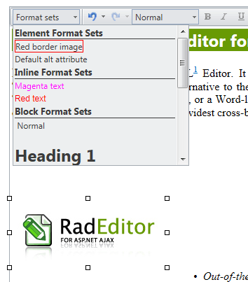 Format Sets drop-down